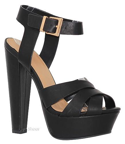 4aa8f30cc67 MVE Shoes Women's Open Toe Thick Heel Ankle Platform Sandal Sexy -  Confortable Dance Next Party