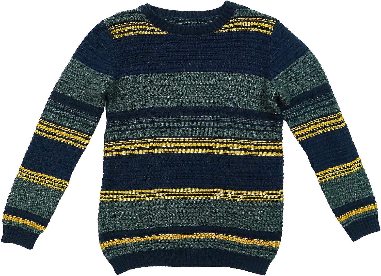 Mallimoda Girls Long Sleeve Sweater Crewneck Pullover Knit Stripe Tops
