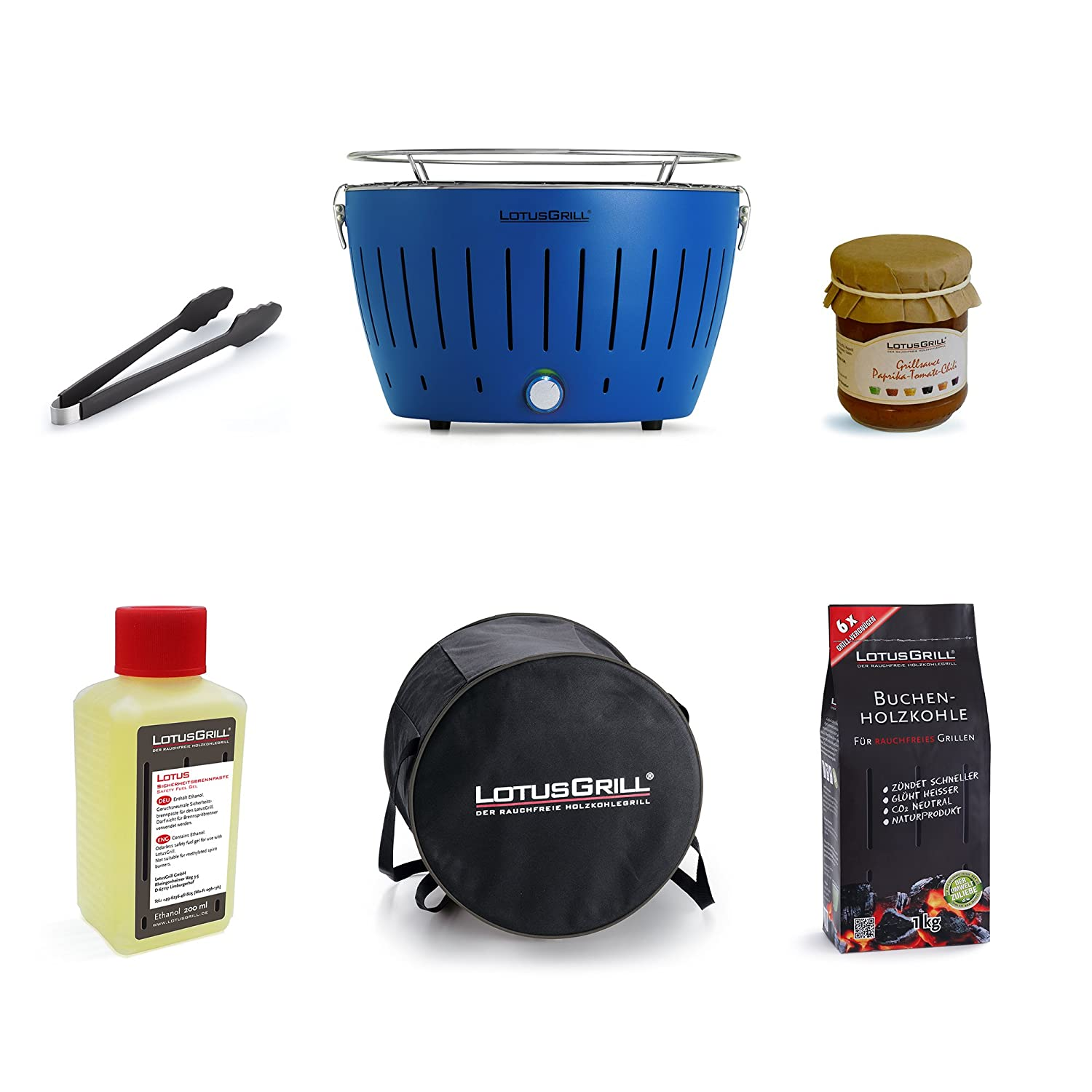 LotusGrill Starter Kit 1 x Flame Red LotusGrill, 1 x Beech Charcoal 1 kg, 1 x Lighting Gel 200 ml, 1 Flame Red LotusGrill Grill Tongs, 1 x Carrying Case, 1 x LotusGrill Special Grill Sauce – Smoke-Free Charcoal Tabletop Grill / Grill only the latest techn