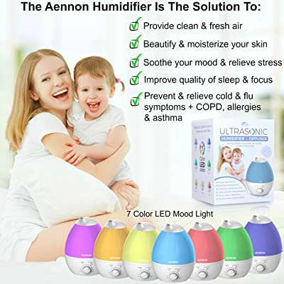 Cool Mist Humidifier, 2.8L Ultrasonic Humidifiers for 20 Hours Use