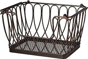 Gourmet Basics by Mikasa Loop and Lattice Stacking/Nesting Rectangular Metal Basket, Antique Black