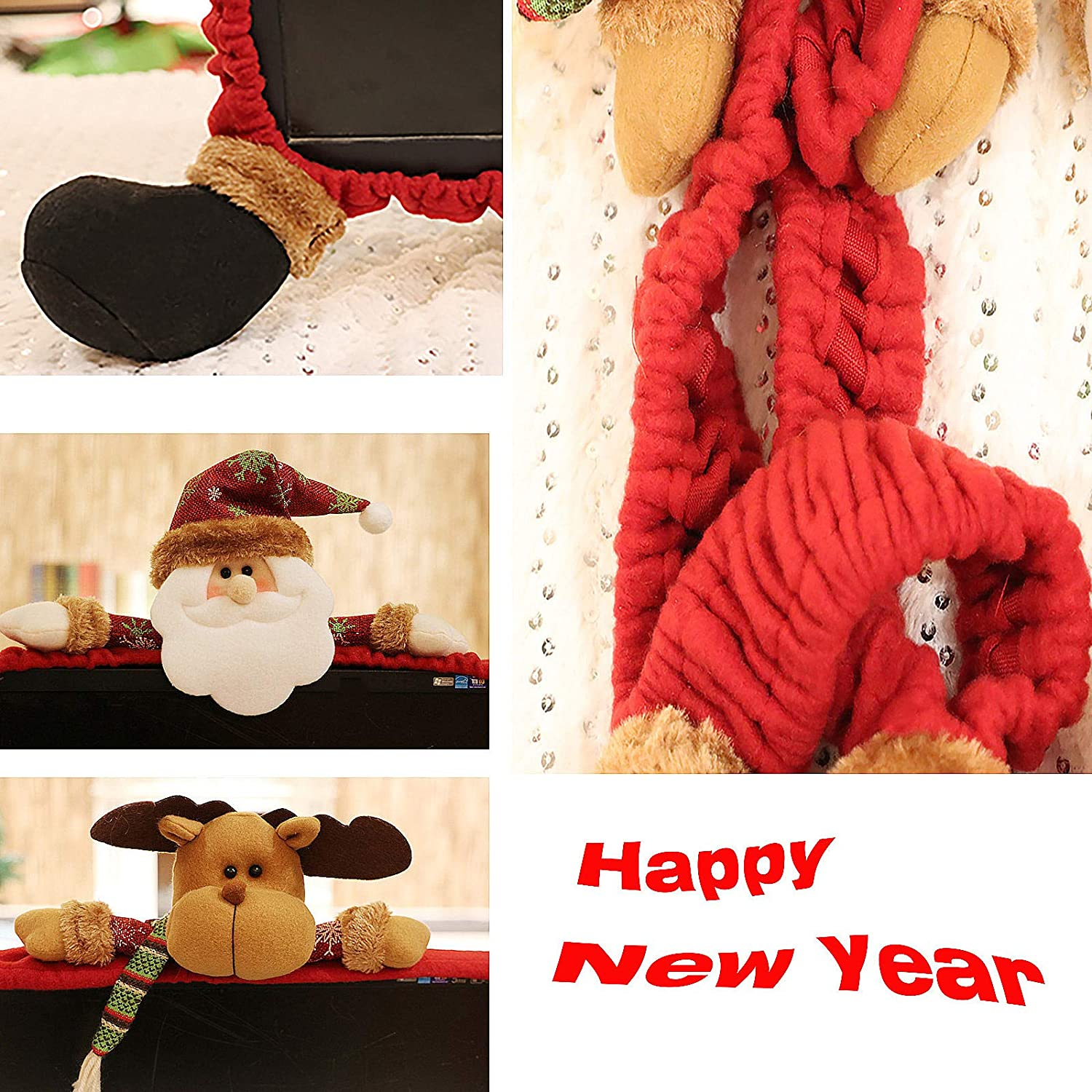 Elastic Computer Cover Christmas Decorations for Home Office Decor and New Year Gift Ideas Santa Claus /… Computer Monitor Cover
