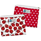 Reusable Sandwich and Snack Bags (Sandwich 2 Pack, LadyBug/Red Dot)