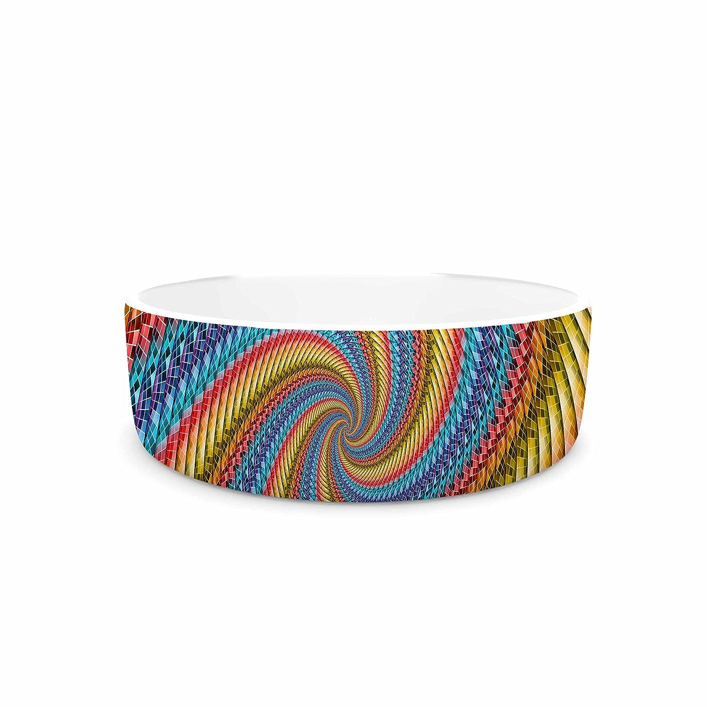 KESS InHouse Ancello Round Spirals orange bluee Digital Pet Bowl, 7  Diameter