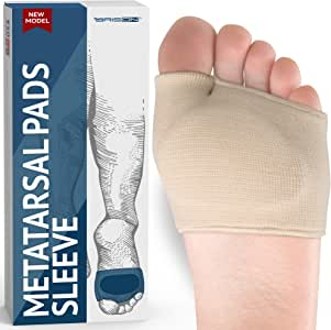 Metatarsal Pads - Gel Sleeves Forefoot Cushion Pads - Fabric Soft Foot Care Ball of Foot Cushions for Bunion Forefoot Blisters Callus Supports Metatarsalgia Pain Relief (Beige)