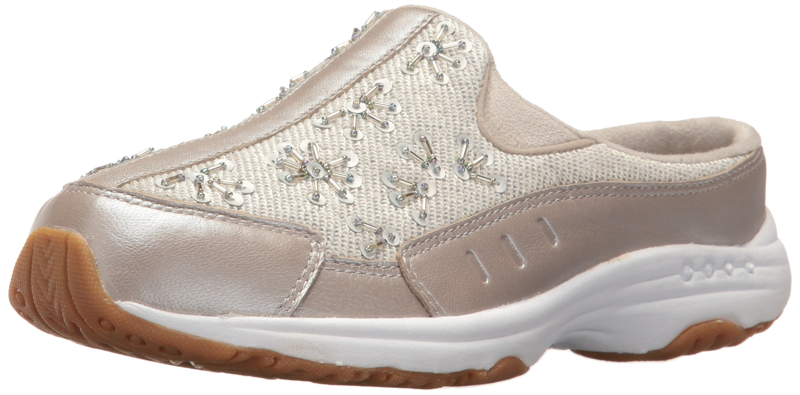 Easy Spirit Women's Traveljewel Mule, Silver/Light Gold Leather, 10 W US by Easy Spirit