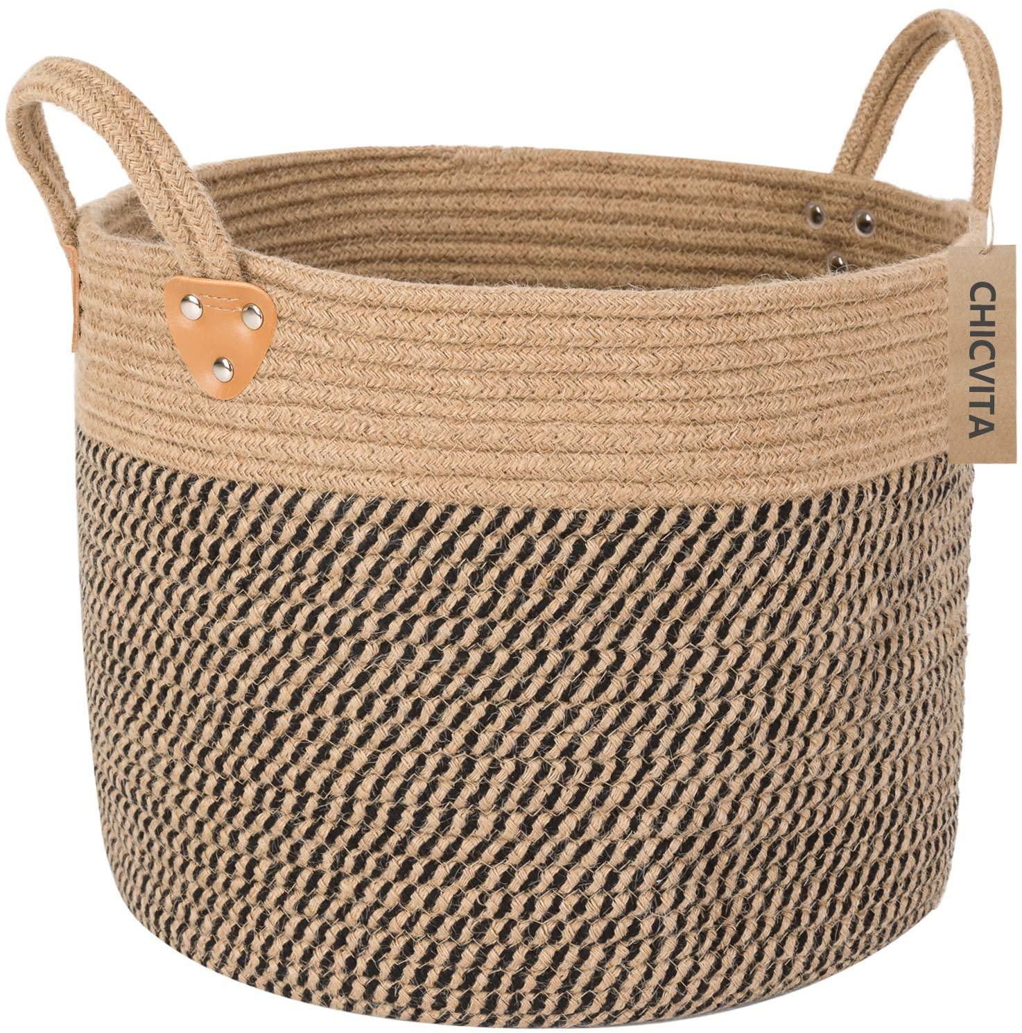 CHICVITA Large Jute Basket Woven Storage Basket with Handles