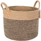 CHICVITA Large Jute Basket Woven Storage Basket with Handles – Natural Jute Laundry Basket Toy Towels Blanket Basket Home Dec