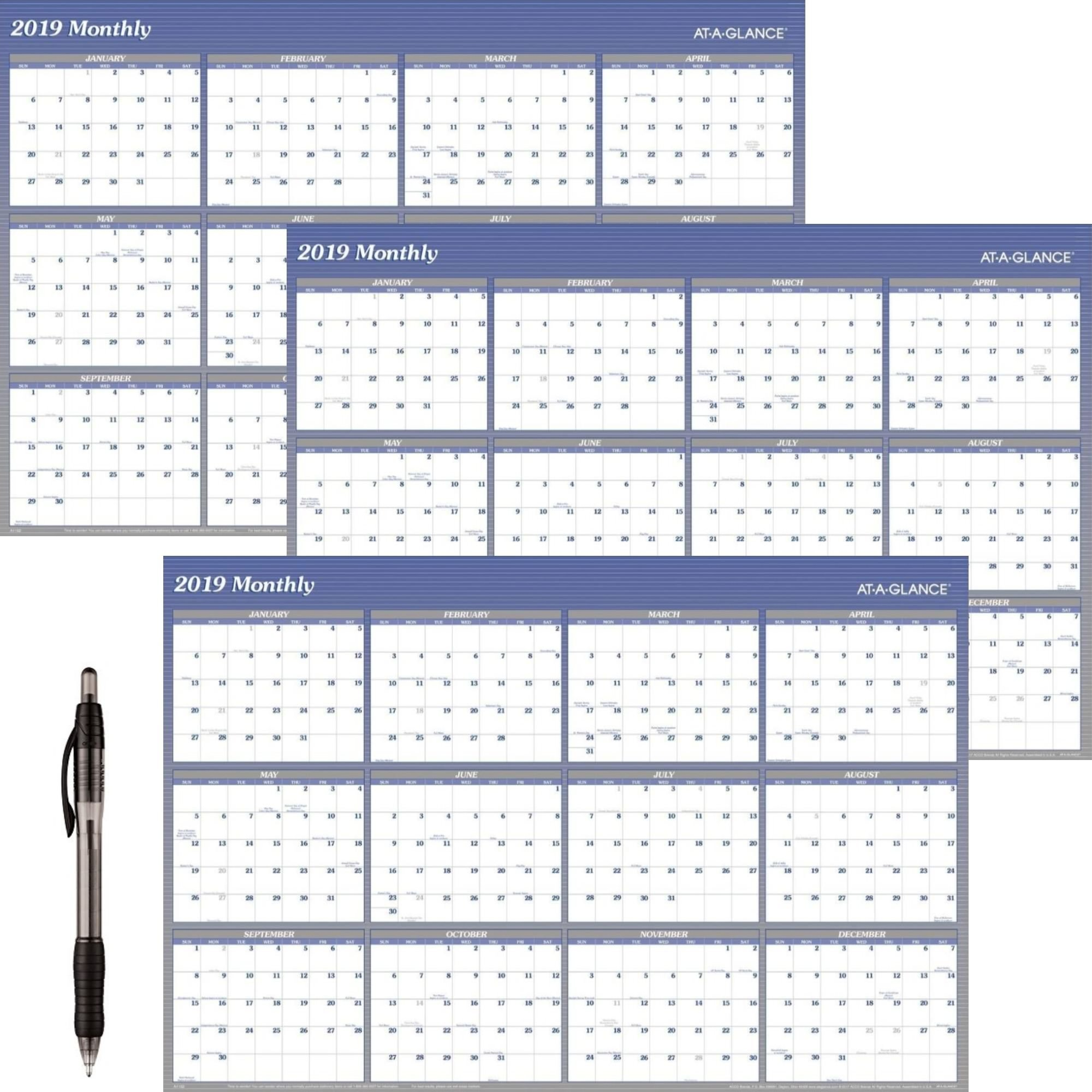 AT-A-GLANCE A1152-18 Yearly Wall Planner, January 2019 - December 2019, 48'' x 32'', Vertical, Horizontal, Erasable, Reversible, Blue (A1152) 3 Pack - Bundle Includes Black Ballpoint Pen
