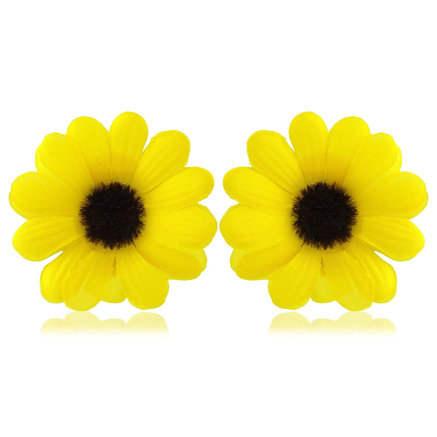 Yellow Daisy Flower Hair Clips Brooches Includes Clip For Hair