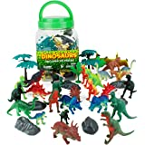 Boley 40 Piece Big Bucket Toys-Tub of Educational Dinosaur Toy Playse Toys Toy Playset with T-Rex, Velociraptor and More-Small