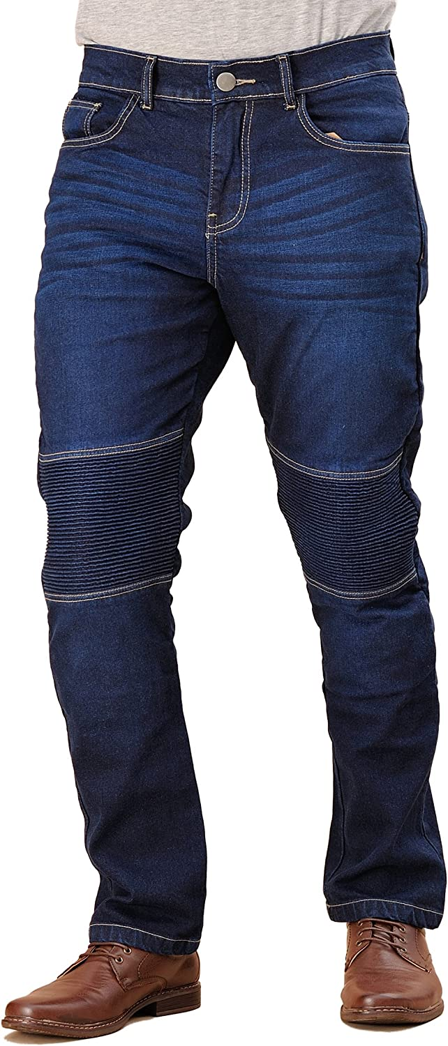 Blue EVOQE Xplore Motorcycle Jeans Men Motorbike Jeans Trousers With Aramid Protective Lining Removable Armour CE