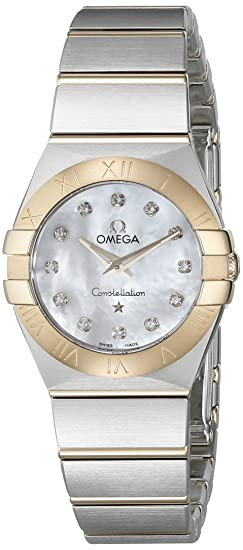 Omega 12320246055002 Constellation de la mujer cuarzo analógico Swiss Plateado Reloj