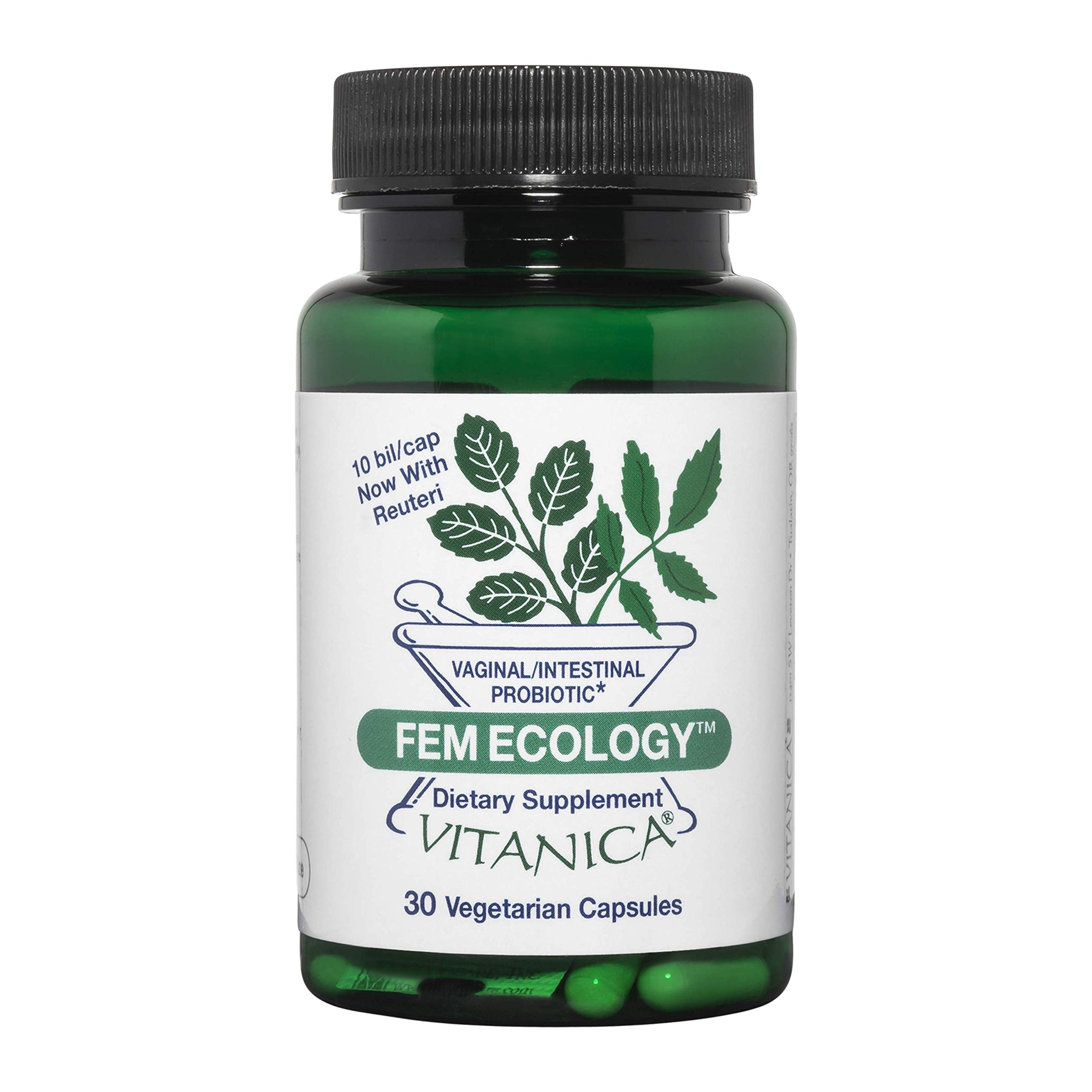 Vitanica FemEcology, Vaginal and Intestinal Probiotic Support, Vegetarian, 30 Capsules