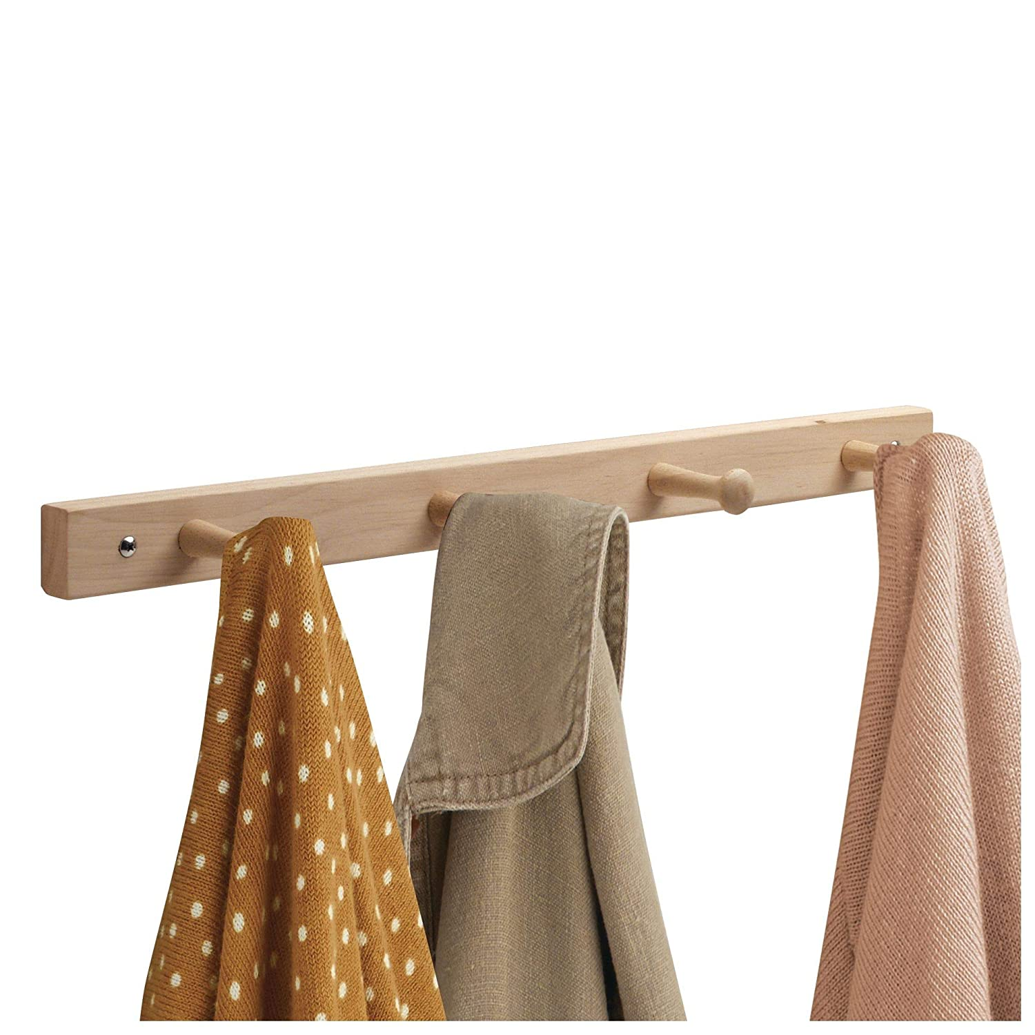 Amazon.com: mDesign Decorative Wood Wall Mount 4 Hook Storage Organizer Rack for Coats, Hoodies, Hats, Scarves, Purses, Leashes, Bath Towels & Robes - 2 ...