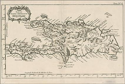 Amazon.com: 24x36 Poster; Map Of Hispaniola Haiti Dominican Republic ...