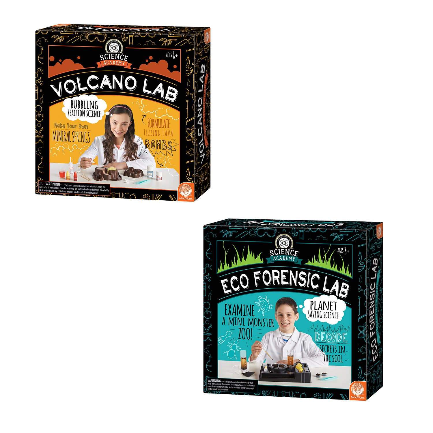 MindWare Science Academy Curious Kits (Volcano and Eco Forensic Labs) by MindWare