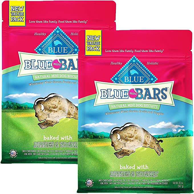BLUE Mini Bars Crunchy Dog Treats, Apples & Yogurt, 20 oz (2 Pack)