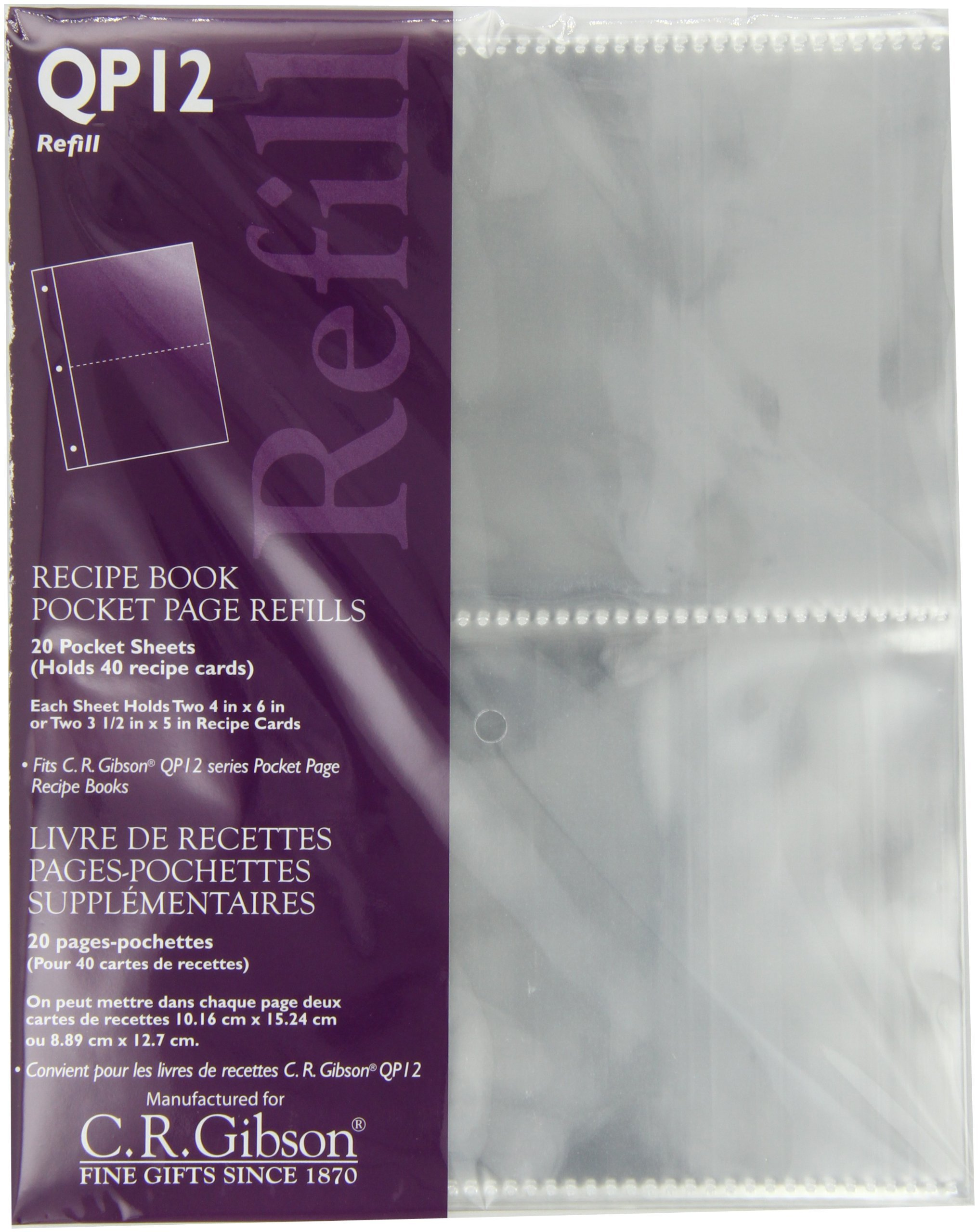 CR Gibson QP12 Transparent Pocket Page Refill (Pack of 3)