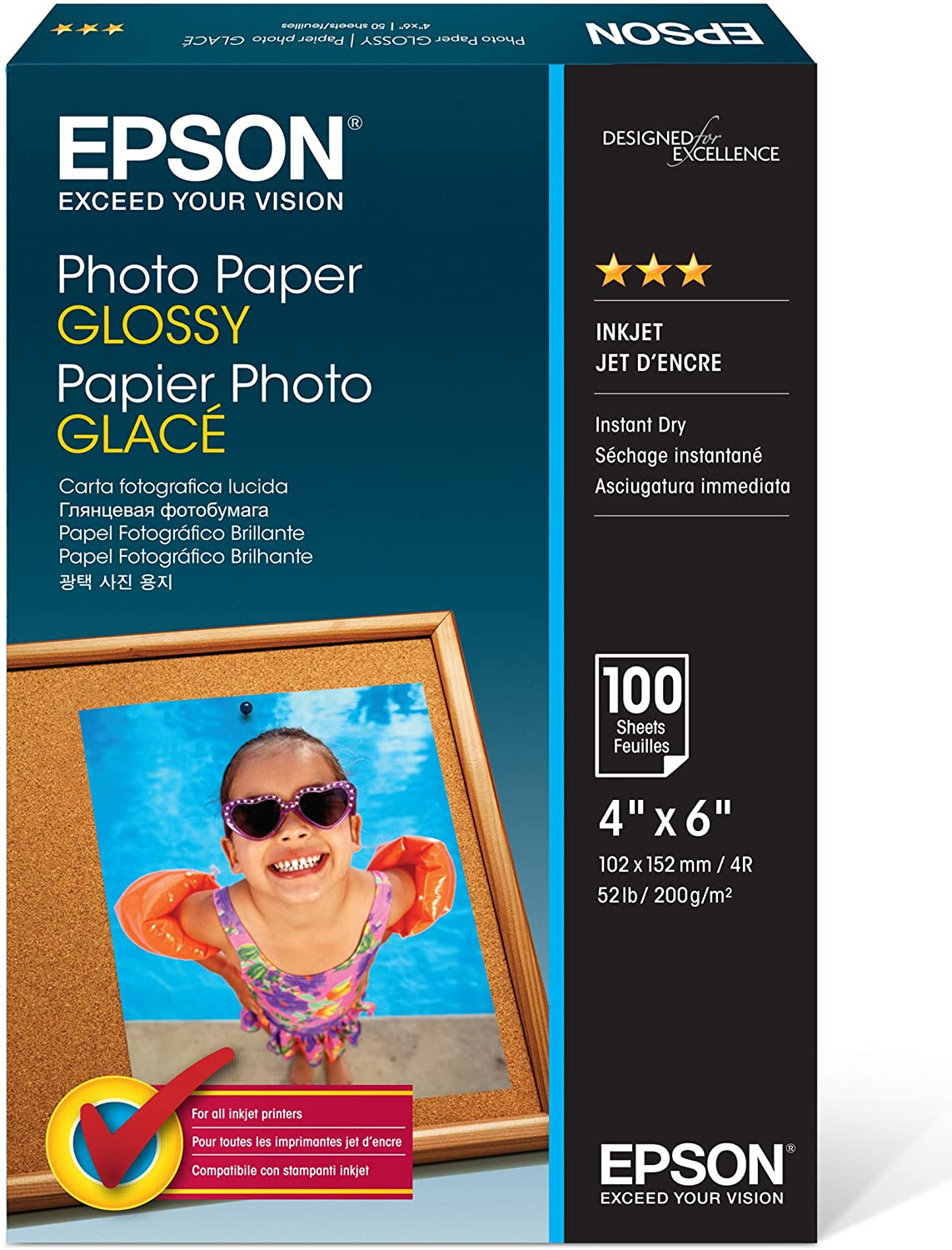 Epson Photo Paper Glossy - Borderless - (100 Sheets)