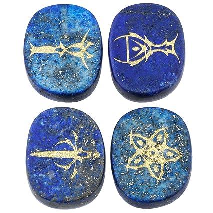 Healing Crystal 4pcs Engraved Tarot Symbol Palm Stones Black Agate