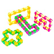 Neliblu Wacky Tracks Snap and Click Fidget Toys for Sensory Kids - Snake Puzzles, Assorted Colors, (Pack of 4)