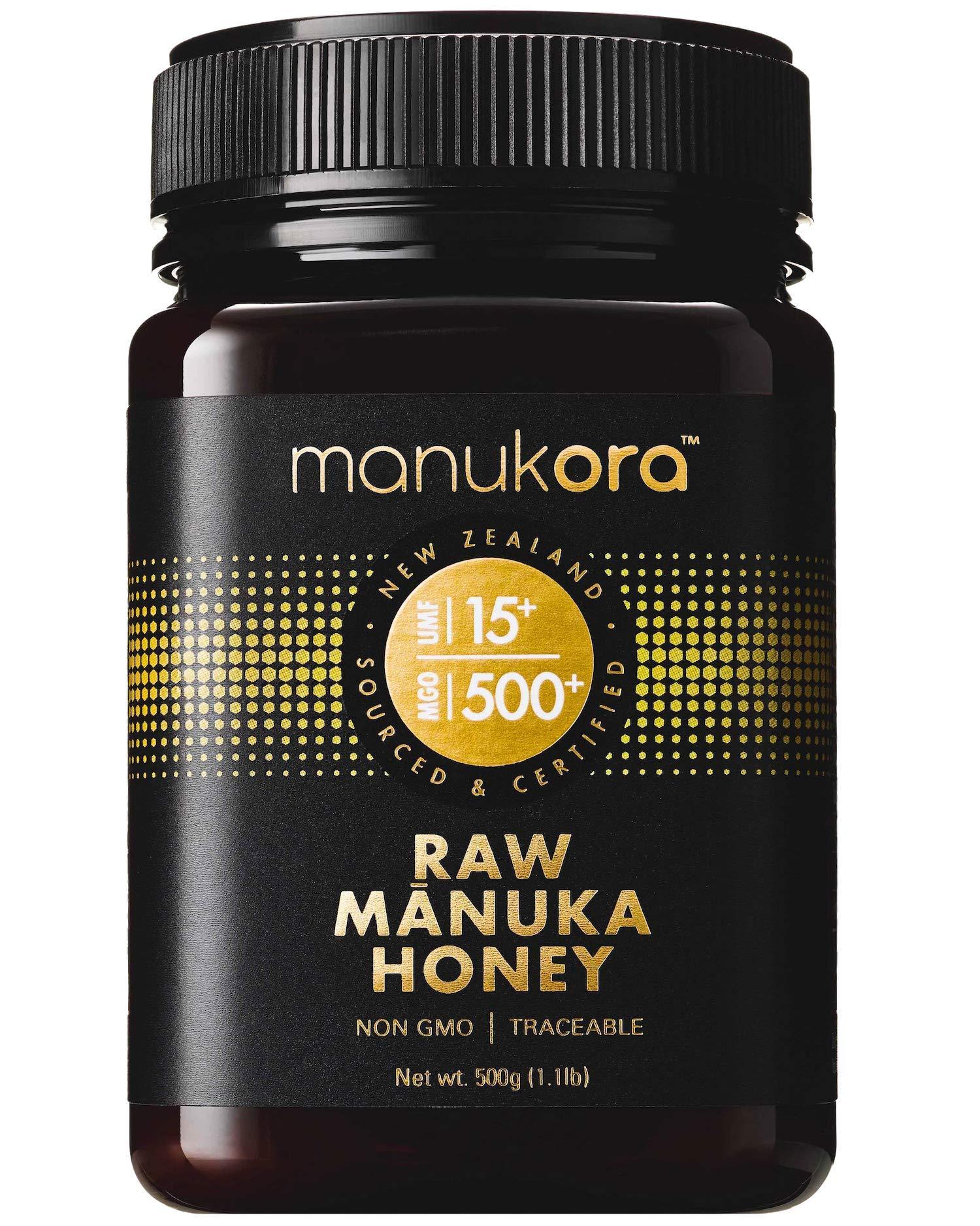 Manukora UMF 15+/MGO 500+ Raw Mānuka Honey (500g/1.1lb) Authentic Non-GMO New Zealand Honey, UMF & MGO Certified, Traceable from Hive to Hand