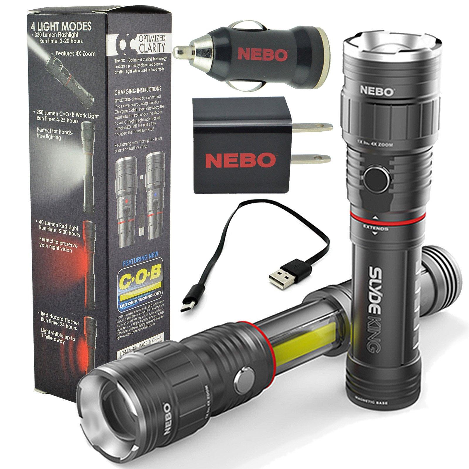 Nebo Slyde King 6434 Rechargeable LED Flashlight Work Light Adjustable Zoom with Nebo USB Plug Adapters