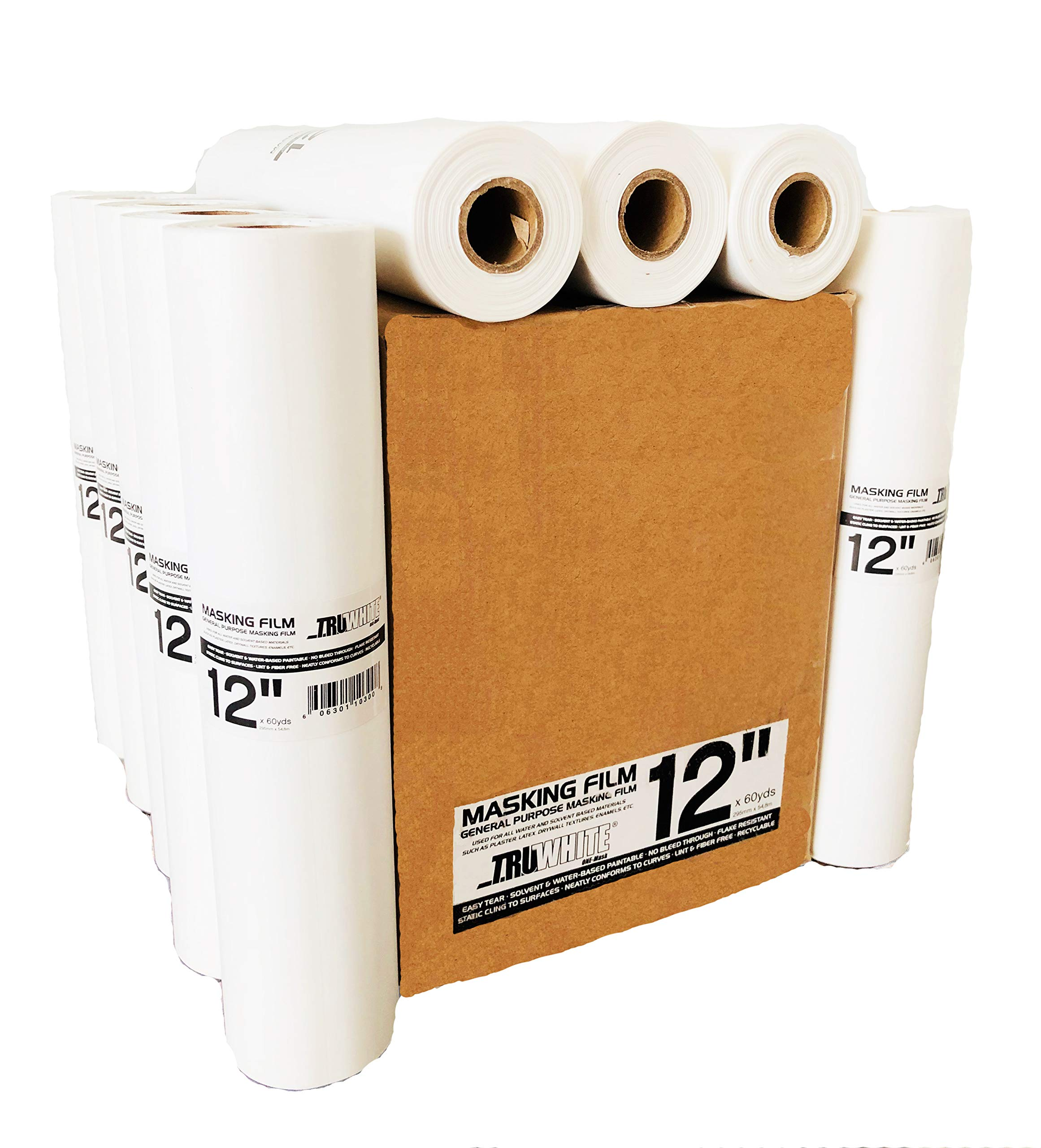 Reli. TruWhite Masking Paper Alternative (12 Rolls, Bulk) (12'' Inch x 180' feet) for Painting, Automotive - Protective Masking Film in Bulk by Reli.