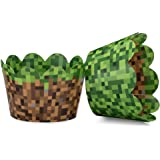 Miner Themed Pixel Grass Cupcake Wrappers for Boys Birthday Parties, Vintage 8-Bit Birthday Party. Set of 24 Reversible Engin
