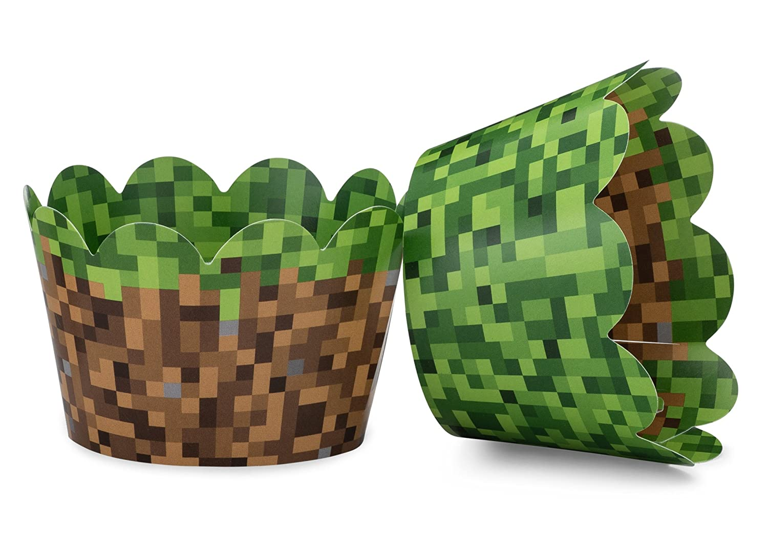 Miner Themed Pixel Grass Cupcake Wrappers for Boys Birthday Parties, Vintage 8-Bit Birthday Party. Set of 24 Reversible Engineer Grass and Green Pixel Cup Cake Holder Wraps. Green, Brown, Gray