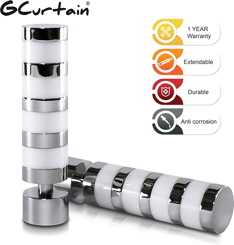 Extend 26-170 inch Mirror Finish Gcurtain Cylinder 3//4 inch Adjustable Easy Install Heavy Duty Decorative Window Curtain 16//19 Double Rod Set BK, 26-48