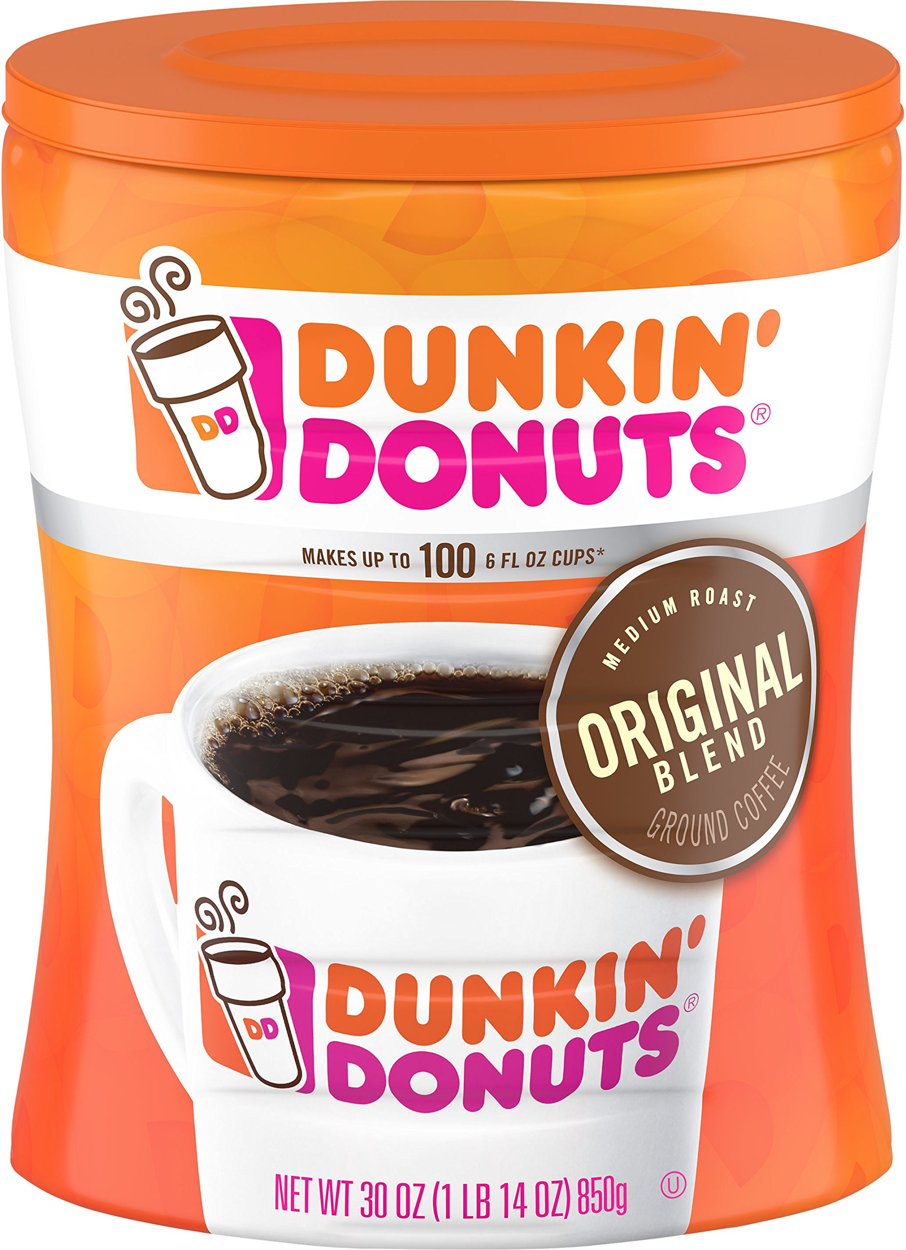 Dunkin' Donuts 6-Pack Original Blend Ground Coffee, Medium Roast, 30-Ounce Canisters by Dunkin' Donuts (Image #2)