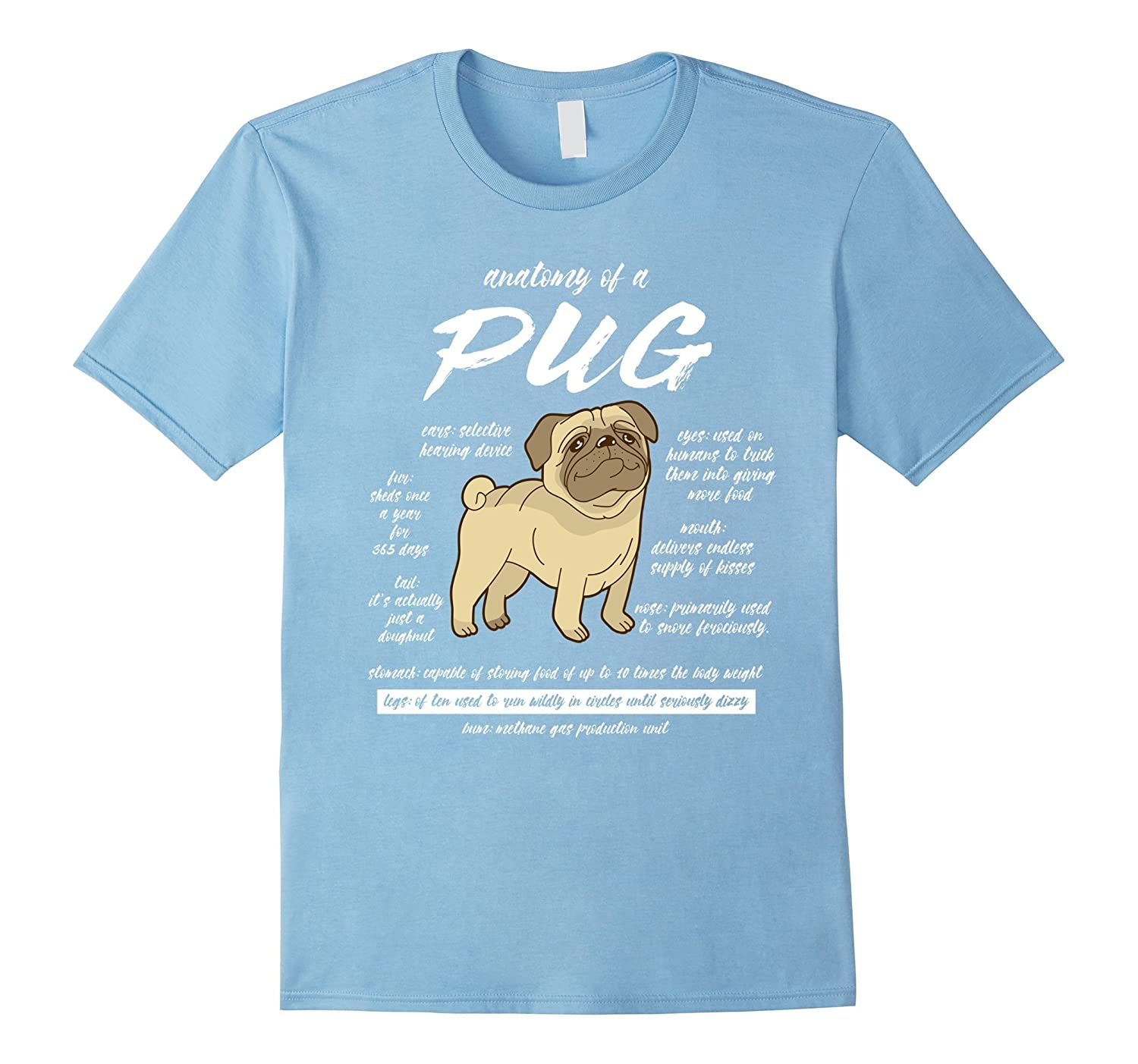 Anatomy of a Pug T-Shirts Pet Dog Owners tshirt Funny Pug Lover tee ...