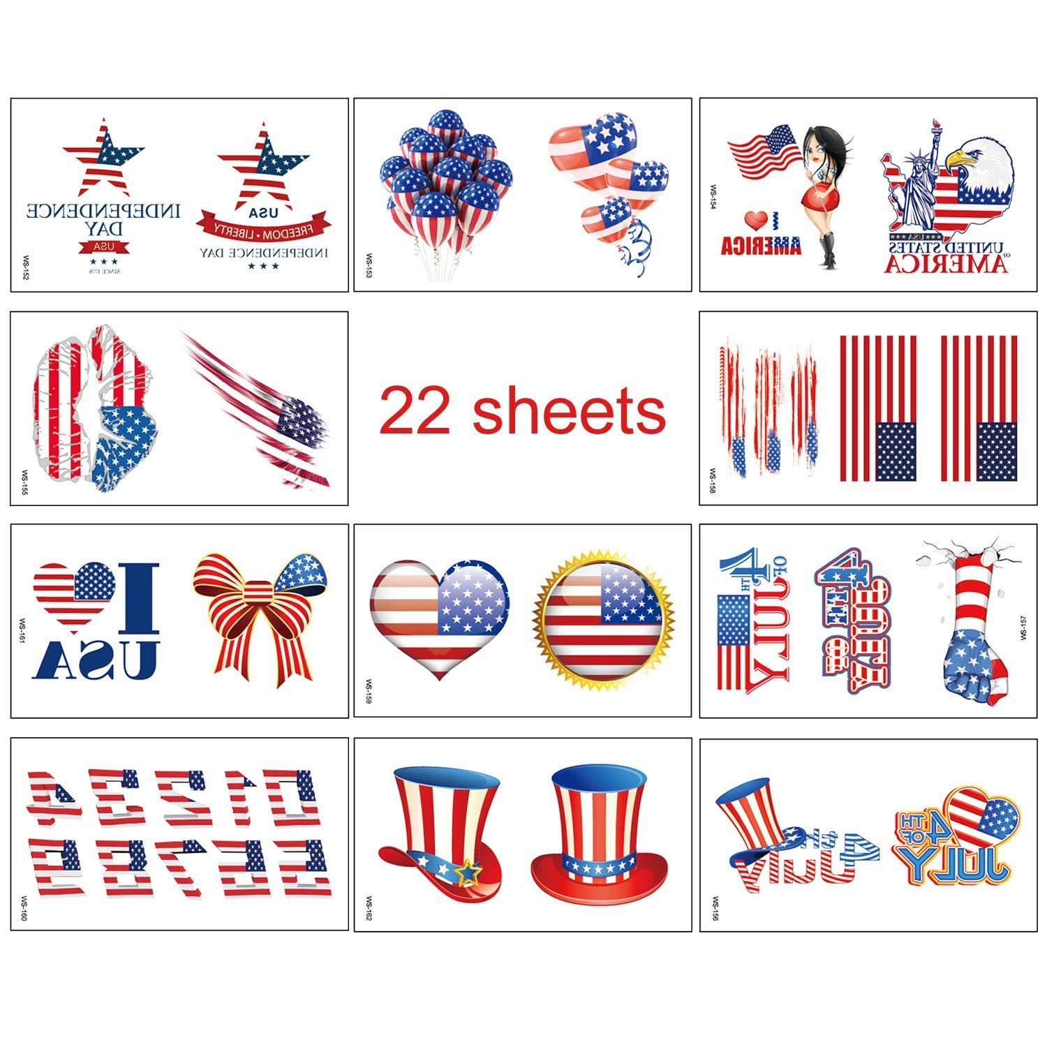 Medeer 4th of July Decorations Patriotic Temporary Tattoos 22 Sheets for Memorial Day, Independence Day, Red White and Blue Party Supplies, Fourth of ...