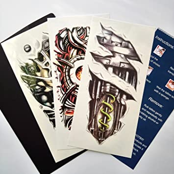 Amazon.com : Kotbs 3 Sheets Mix Robot Arm Body Sticker Tattoo Art ...