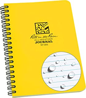 """product image for Rite in the Rain All-Weather Side-Spiral Notebook, 4 5/8"""" x 7"""", Yellow Cover, Journal Pattern (No. 393)"""