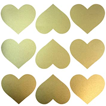 Amazon.com: Easy Peel + Stick Gold Wall Heart Shape Decals (40 ...