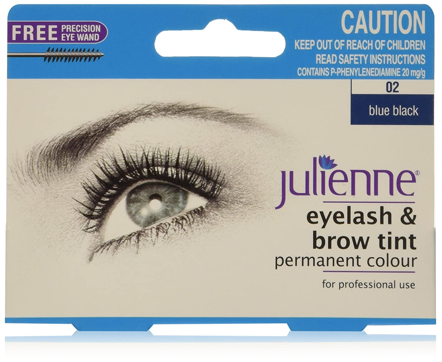 Julienne Eyelash And Eyebrow Permanent Blue Black 02 Colour Tint