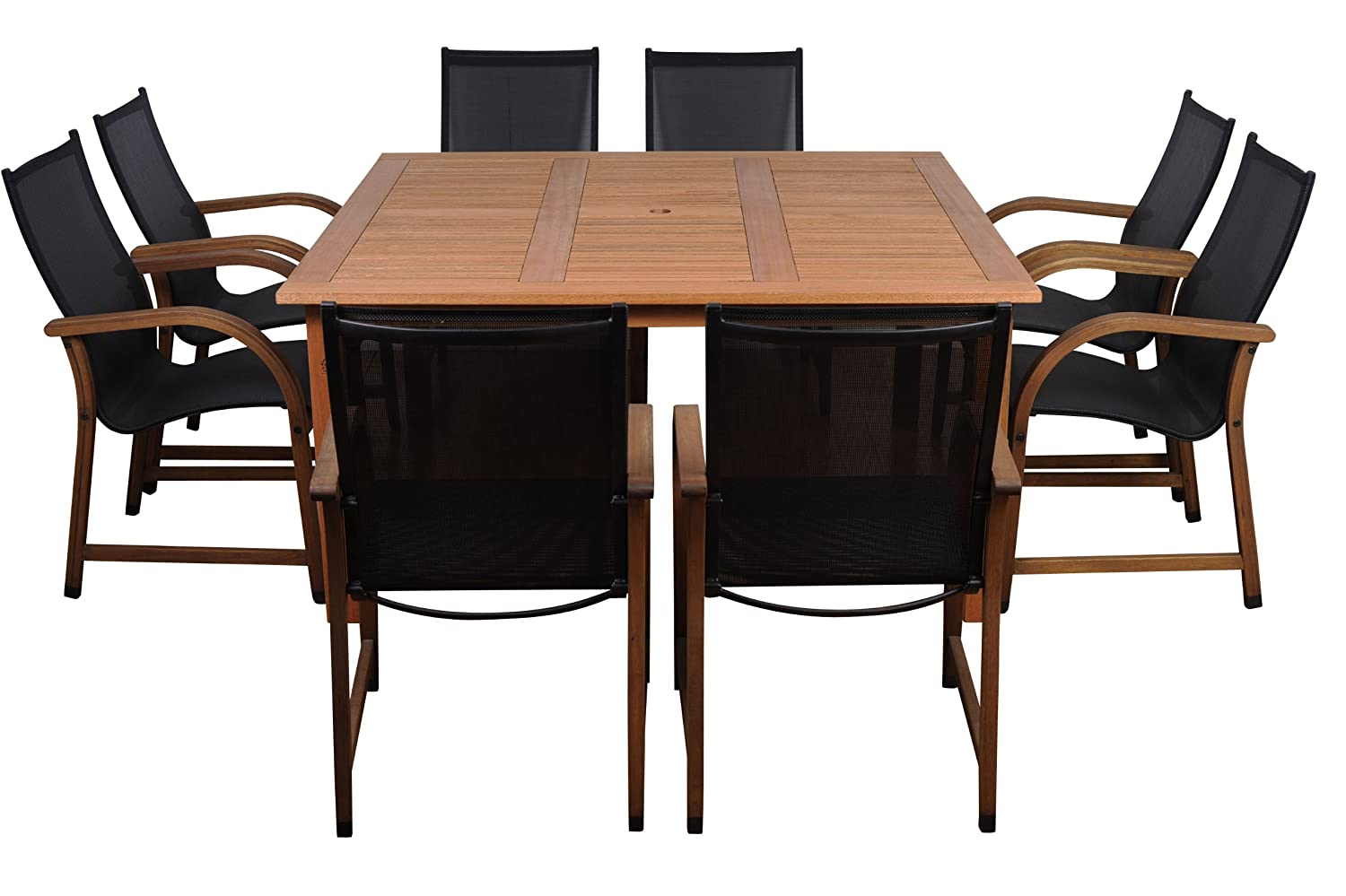 Amazon.com : Amazonia Bahamas 9 Piece Eucalyptus Square Dining Set : Outdoor  And Patio Furniture Sets : Garden U0026 Outdoor