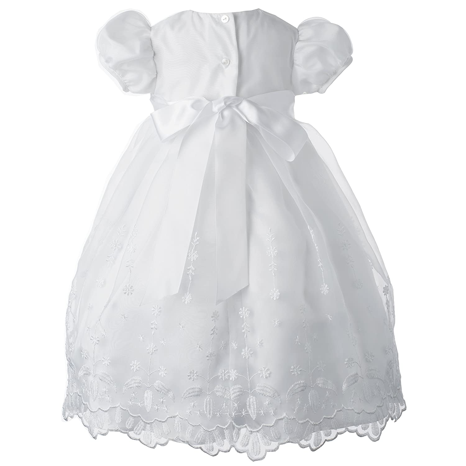 Lauren Madison Baby-Girls Newborn Satin Floral Embroidered Dress Gown Outfit 1365
