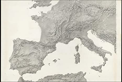 Map Of France Italy And Spain.Amazon Com 20x30 Poster Cia Terrain Map Of Sw Europe Spain France
