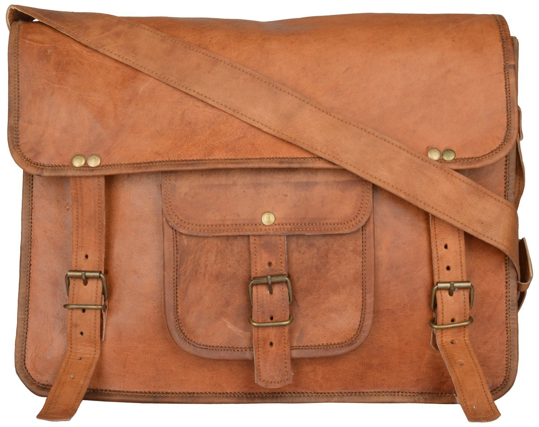 Handcrafted exports 15'' Laptop Vintage Leather Messenger Satchel Briefcase Gift