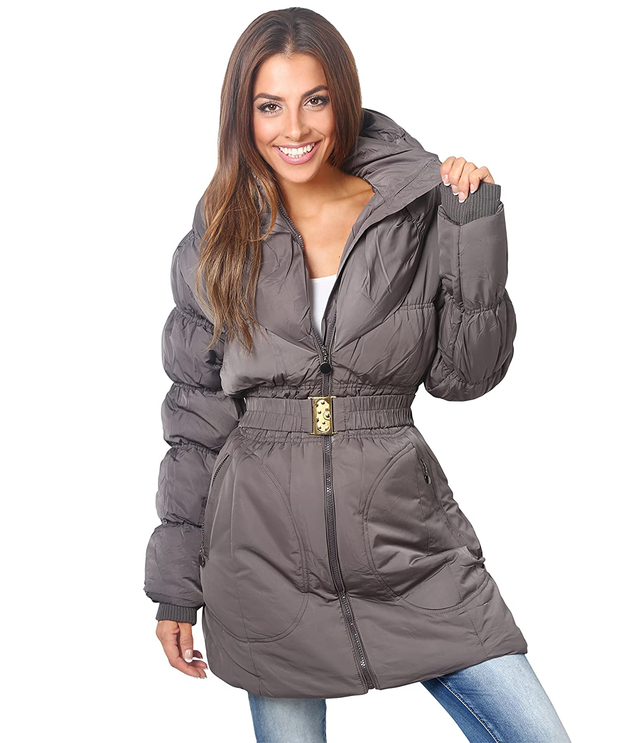 KRISP Womens Puffer Quilted Down Thick Long Coat Jacket Plus Size US 14 / UK 18) [5464-GRY-18]