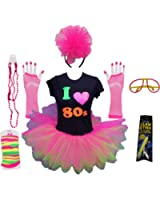 I Love the 80s Ladies Tutu Top Party Set Legwarmers Gloves Headband Glow Stick Beads