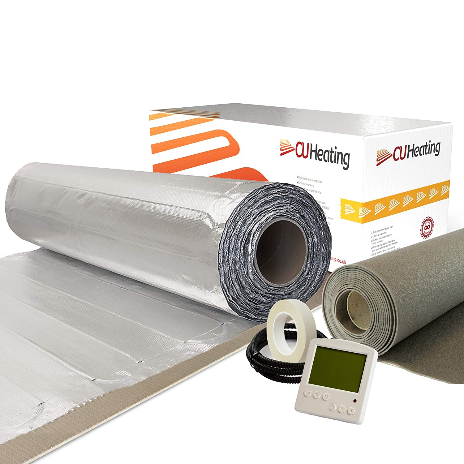 CU Heating Foil Electric Under Wood /& Carpet Heating Kit 150w//m/² FME *All Sizes* with Touch-Screen Thermostat 2m/², Pearl White Thermostat **Includes Insulation Underlay**