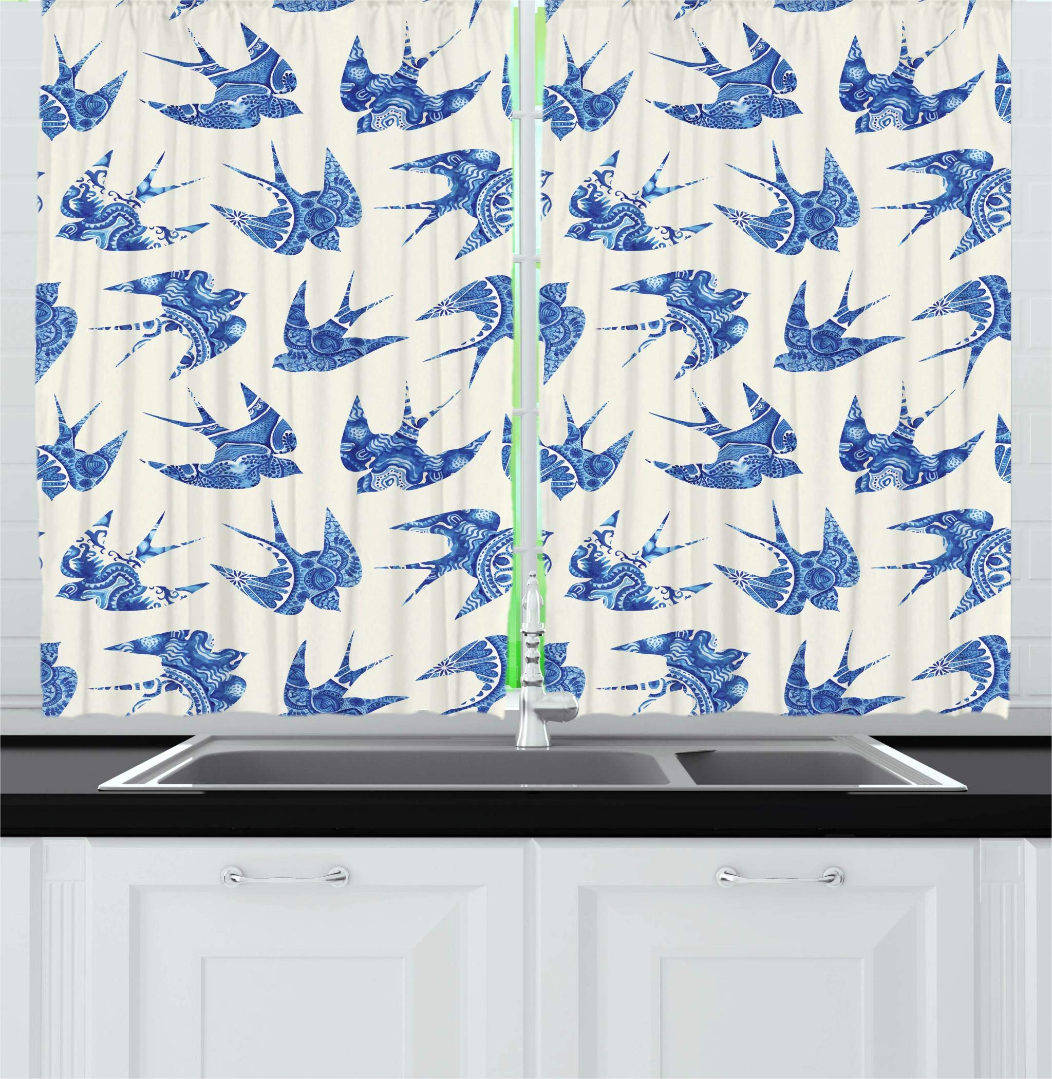 Ambesonne Animal Kitchen Curtains, Sparrows Fly Birds with Mosaic Antique Like Image Prints on Their Wings Artwork, Window Drapes 2 Panels Set for Kitchen Cafe, 55W X 39L Inches, Coconut Blue