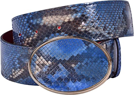 ANNA MILAN Cinturón De Serpiente Natural En Azul Piel 100% Auténtica Forro Interno De Cuero Hebilla Oval En Color Oro Colección Exclusiva Fabricado En España: Amazon.es: Ropa y accesorios