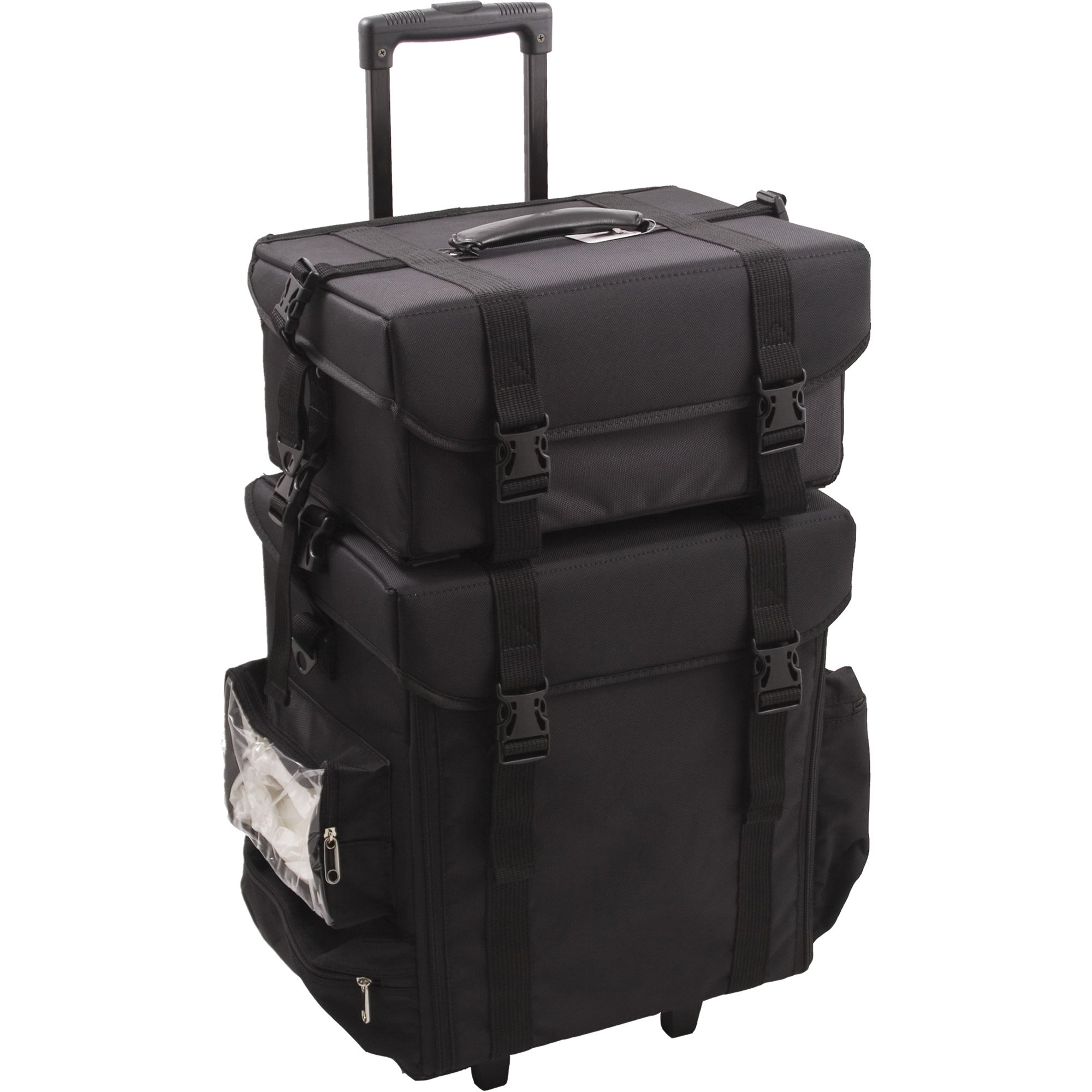 Sunrise T5271 2-in-1 Soft Sided Professional Rolling Trolley Makeup Artist Cosmetic Case, Black Nylon