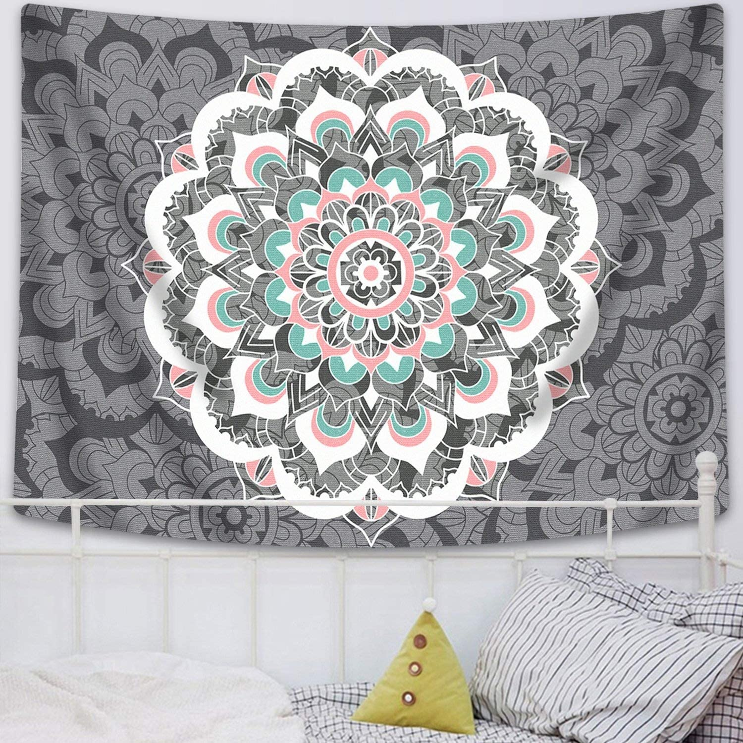 "Sunm Boutique Tapestry Wall Hanging Indian Mandala Tapestry Bohemian Tapestry Hippie Tapestry Psychedelic Tapestry Wall Decor Dorm Decor (Colorful, 70.8""x 92.5"")"